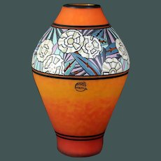Art Deco  André Delatte large cameo vase with enameled glass 12.8 inch