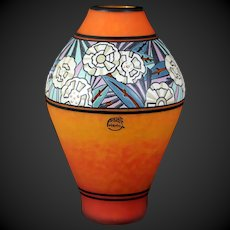 Superb Art Deco hard to find André Delatte large cameo vase with enameled glass 12.8 inch
