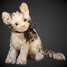 """Vintage 1934 -1937  mohair steiff cat 7"""" miaou squeaker German FREE SHIPPING"""