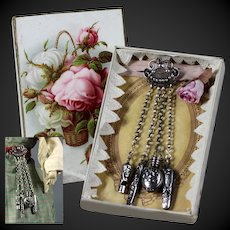 Fantastic original antique French fashion doll / mode Poupèe silver Chatelaine around 1880 in box. FREE SHIPPING