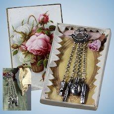 Original antique French fashion doll / mode Poupèe silver Chatelaine  1880 in box
