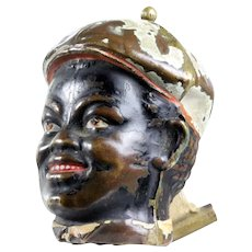 ANTIQUE VERY UNIQUE ! FIGURAL brass with cold paint  WIND-UP SEWING TAPE MEASURE Black Americana boy head with cap and very big smile