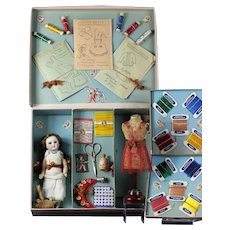 "Wonderful original French "" Haute Couture "" presentation sewing box from Paris with Bisque SFBJ doll and Mannequin with Bisque SFBJ doll and Mannequin"