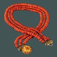 72.3 Gram Antique 19th century natural 3-strand Red Coral necklace 14 karat gold lock  11 smaller corals