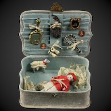 """Beautiful Antique Original French presentation box with  3.7"""" all Bisque Mignonette Doll and a lot Accessories, FREE SHIPPING"""
