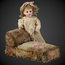 """Special antique 19e century  French Shabby Romantic doll 10"""" Chaise Lounge sofa,  FREE SHIP"""