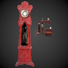 Beautiful & antique doll house  Grandfather Clock of red colored wood by the German company Gebruder Schneegas.