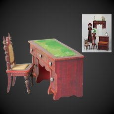 Beautiful & antique doll house Desk and Chair of red colored wood by the German company Gebruder Schneegas.