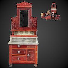 Beautiful & antique doll house Dressing table of red colored wood with mirror and marble top by the German company Gebruder Schneegas.