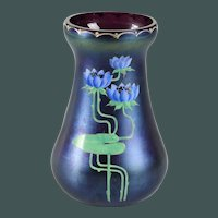 Antique Art Nouveau flower vase Fritz Heckert blue purple enamel waterlily's flower decoration