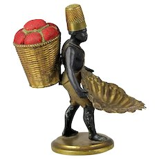 antique 1880 French Black memorabilia Black Americana Man red pin cushion holder  &  thimble holder & basket