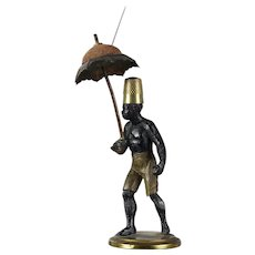 antique 1880 French Black memorabilia Blackamoor with umbrella red pin cushion & thimble holder.