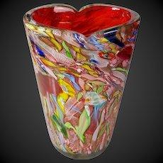 1950 Murano Arte Vetraria Muranese Cherry Red vase