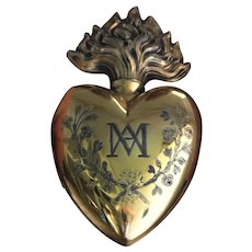 """Museum Item HUGE 7.7"""" and HEAVY 190 gram antique gilt Vermeil French SOLID Silver Ex Voto Sacred Heart 19 Century  Layaway is available."""