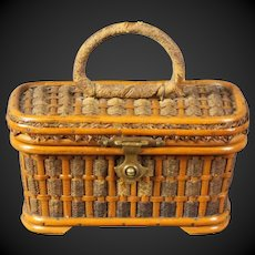 lovely & Rare Antique 19th century Miniature French doll Wicker Picnic Basket Bag