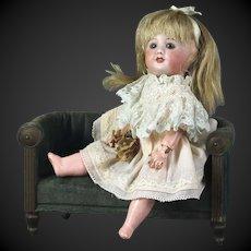 "Jointed body very little French doll 7.5"" blue eyes mignonette Unis 60 France SFBJ"