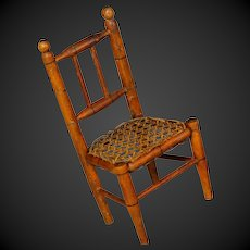 """Antique French Very small 9.2""""  faux-bamboo chair for bisque doll"""