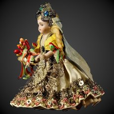 """Very sweet and beautiful 3.9""""little all bisque Mignonette doll in original Hungaria clothing"""