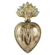 Beautiful antique gilded French Ex Voto Sacred Heart 19 Century  initial: M (Mary) and radiating cross (D)