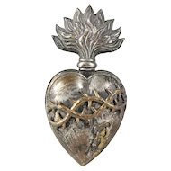 Very rare antique French Ex Voto Sacred Heart 19 Century crown of thorns and blood   (G)