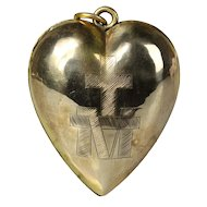 """Beautiful tiny 1.9"""" antique brass French Ex Voto Sacred Heart 19 Century  initial: M (Mary) and cross (I)"""