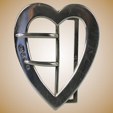 Rare Great shape Antique 1896 English sterling silver Heart shape large belt buckle by Lawrence Emanuel