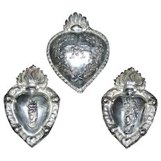 3 rare silver French sacred hearts religious offerings representing ex votos