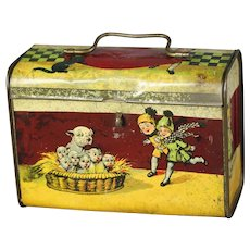 RARE!! French 1920'S BONZO & puppies Lithographed Biscuit Tin candy container lunch pail