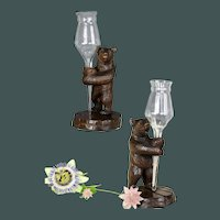 Antique set of Black Forest hand carved standing bears flower holders epergne vases