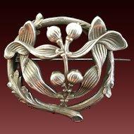 Art Nouveau French marked silver Mistletoe broch