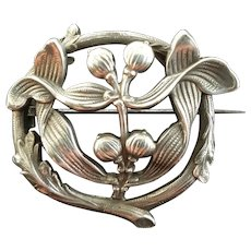 Art Nouveau French marked silver Mistletoe broch