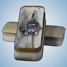 Antique 1860-1880 marked French sterling Silver baby in presentation box rattle & whistle & bells / by French bebe doll