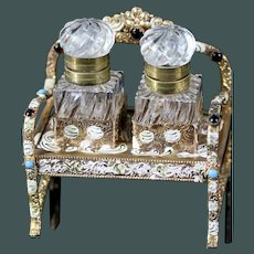 Lovely small French 19th century Palais Royal Baccarat inkwell gilt ormolu Jeweled turquoise