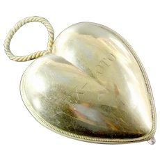 "Museum Item ANTIQUE 1819/1838 Item HUGE 5.74 "" &  HEAVY 172 gram gilt Vermeil French SOLID Silver Ex-Voto Heart initail: EX-VOTO"