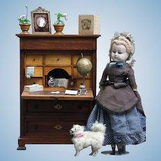 "Amazing French miniature 18.5"" masterpiece 19th century cabinet / Front Desk / Secretary mahogany for Fashion Doll Front Desk / Secretary"