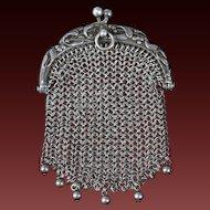 French Art Nouveau Silver purse with Mistletoe decor