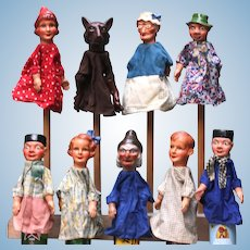 Very old 1930's Papier mache set 9 puppet puppets: Little Red Riding Hood & Wolf & grandmother / Hansel and Gretel & wicked witch / Twin / Boef Layaway is available. Please note price is in US $ and in Eur