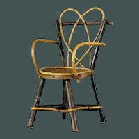 """Antique French small 12"""" wood / wicker arm chair for bisque doll"""