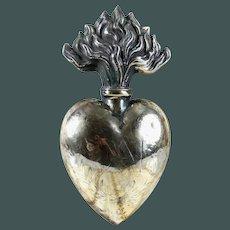 "LARGE 5""  antique French Ex Voto Sacred Heart 19 Century AM"
