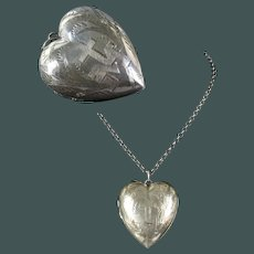 "Beautiful 2.14"" antique marked French silver 800/900 Ex Voto Heart 19 Century  initial: M (Mary) and cross pendant"
