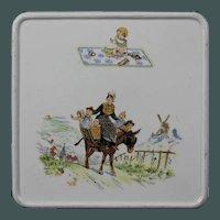 Very sweet rare late 19th century coaster from Sarreguemines Enfants Richard / Kate Greenaway