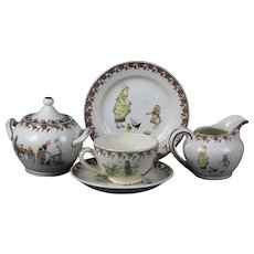 Very sweet rare late 19th century French child tea set from Sarreguemines Enfants Richard / Kate Greenaway
