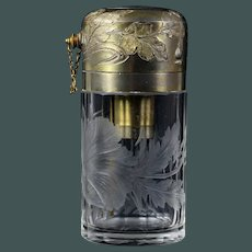 Antique - Art Nouveau MOSER crystal Intaglio Cut engraved perfume bottle Atomizer commissioned for: Kirby, Beard & Co