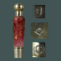Art Nouveau French sterling silver and acid etched ruby red cameo glass Strawberries traveling `spirits' liquor flask, unmarked (Daum Nancy)