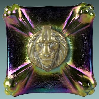 Antique Art Nouveau Glass Loetz inkwell Lion shaped