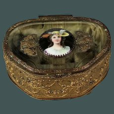 Exquisite antique 19th century cut glass French ormolu Miniature Portrait Limoge Dresser box trinket casket