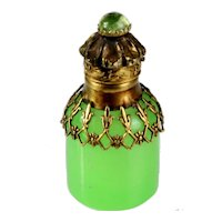 Antique Palais Royal French 19th century green opaline glass perfume scent bottle with fine bronze frame