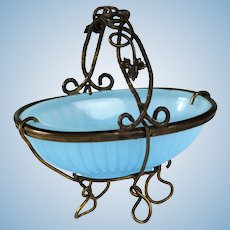 Antique Palais Royal French 19th century blue opaline glass basket with fine frame great by fashion doll