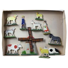 Antique original presentation box wooden farm animals & people & windmill