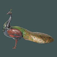 """BEAUTIFUL 10"""" antique mechanical WIND-UP sound maker LITHO TIN TOY peacock Hans Eberl German / circa 1910"""